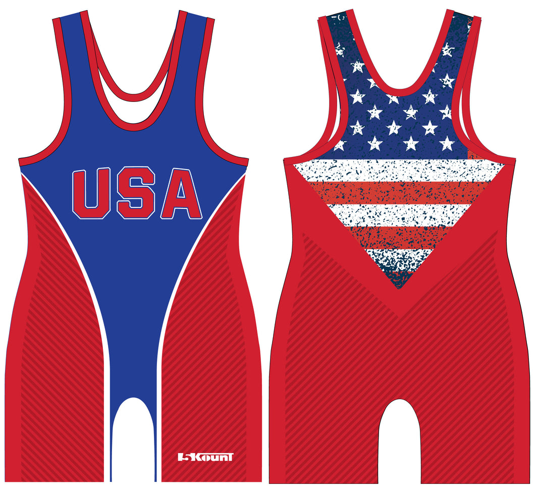 Freestyle Sublimated Singlet- Flag/Red - **10% DISCOUNT