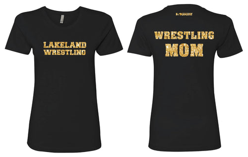Lakeland Jr. Wrestling Glitter Cotton Crew Tee Mom - 5KounT2018