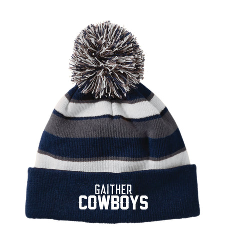 Gaither HS Cowboys Wrestling Pom Beanie - Navy - 5KounT