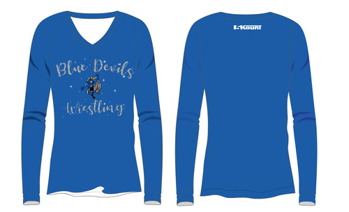 Blue Devils Wrestling Sublimated Women's Long Sleeve Shirt