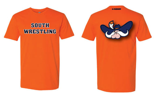 South Wrestling Cotton Crew Tee - Orange - 5KounT