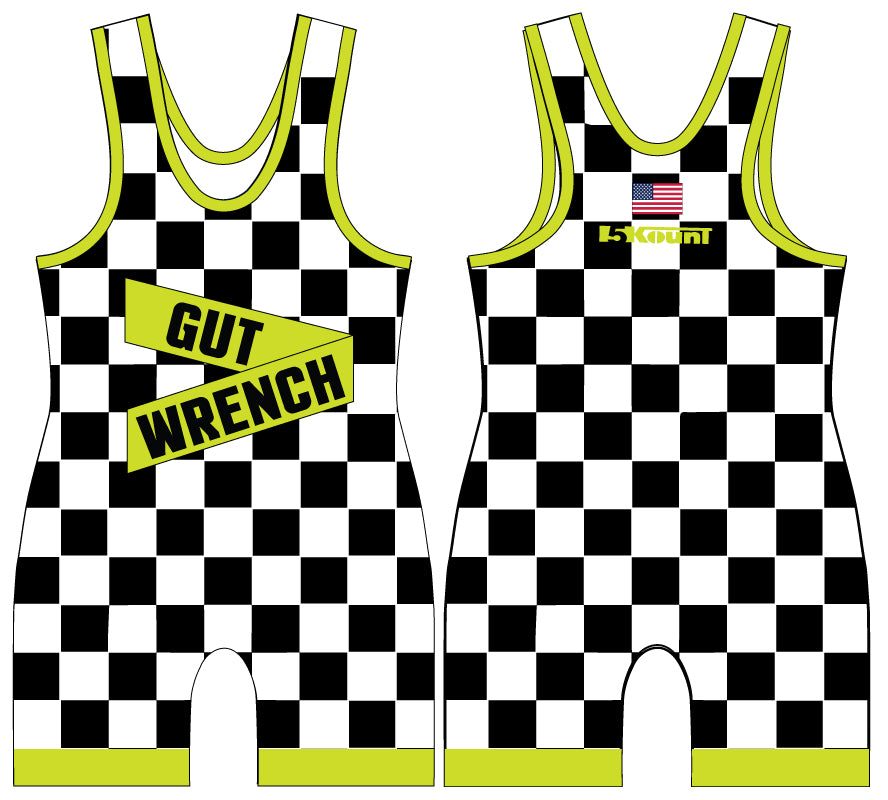 Checkerboard Sublimated Singlet- Neon Green