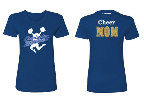 Herricks Cheer Mom Glitter Cotton Crew Tee - Royal Blue