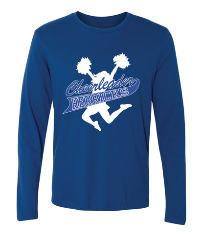 Herricks Cheer Long Sleeve Cotton Crew - Royal
