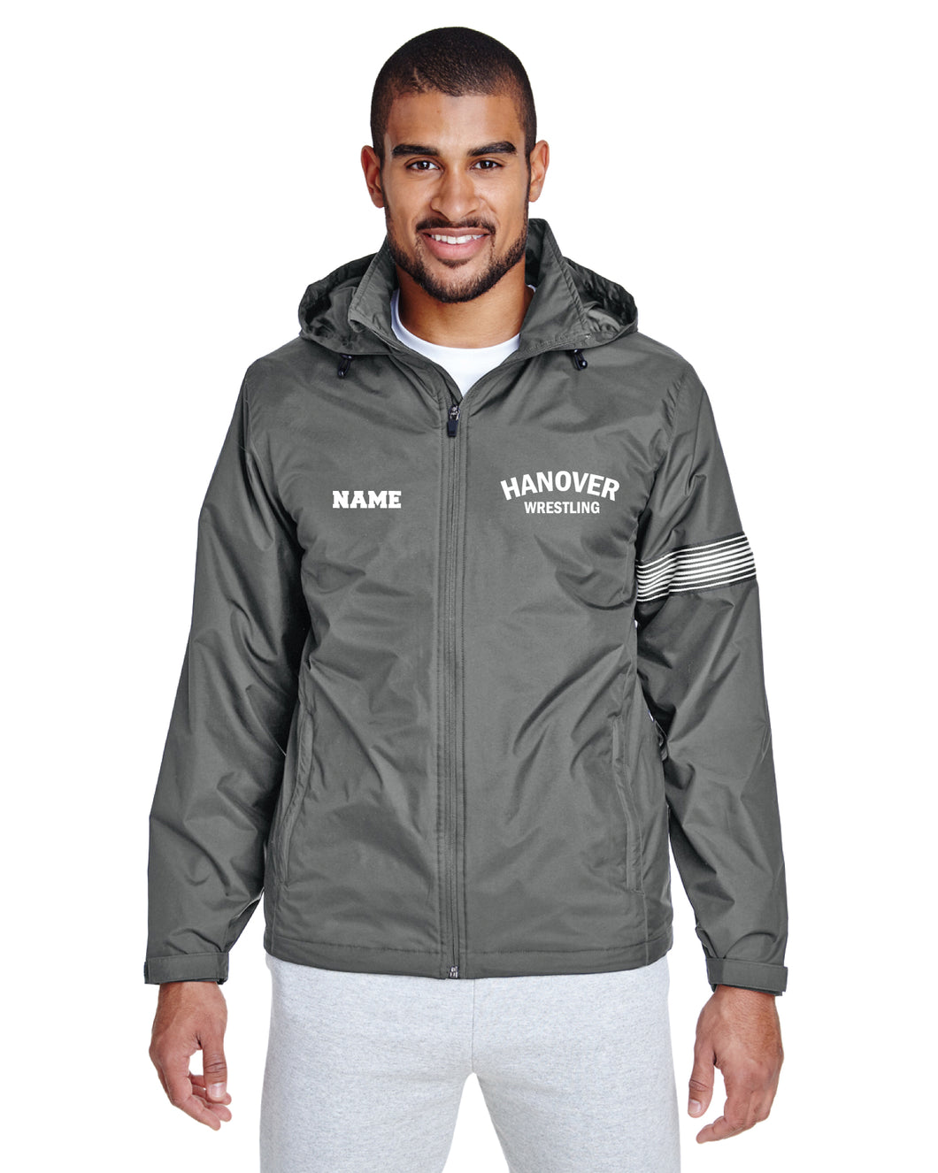 Hanover Township Wrestling All Season Hooded Men's Jacket - Sport Graphite