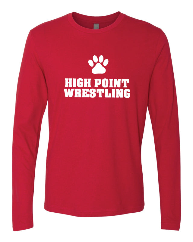 High Point HS wrestling Long Sleeve Cotton Crew - Red - 5KounT2018