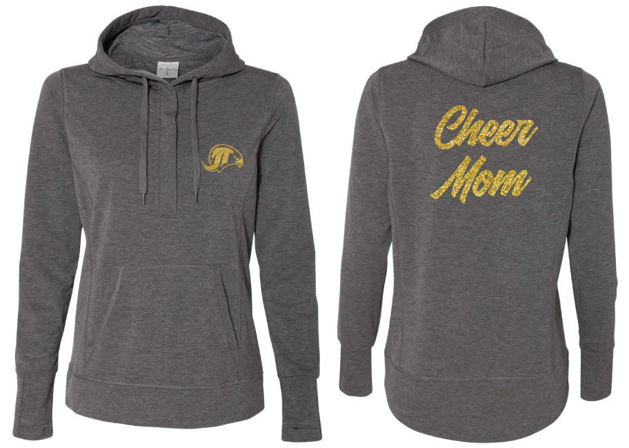 Falcons Cheer Terry Snap Placket Hooded Pullover