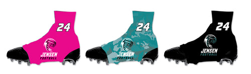 Jensen Beach Falcon Football Sublimated Spats (Cleat Cover) Pink/Teal/Black