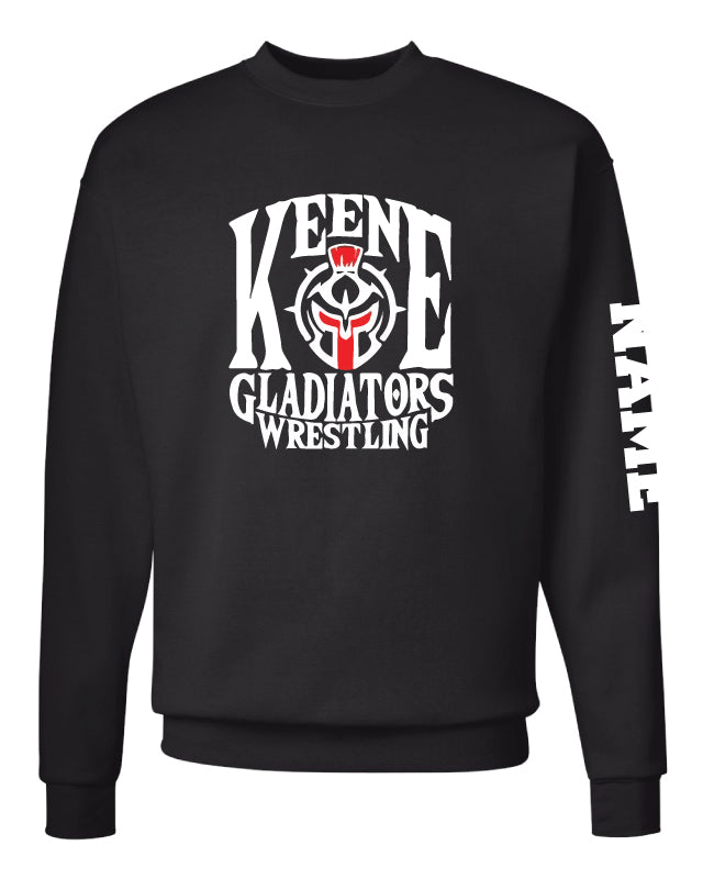 Keene Gladiators Wrestling Crewneck Sweatshirt - Black