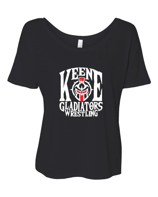 Keene Gladiators Wrestling Women's Slouchy Tee - Black