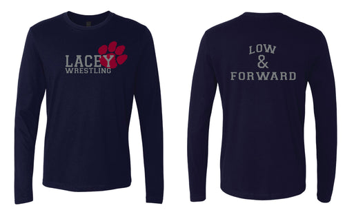 Lacey Wrestling Long Sleeve Cotton Crew - Navy/Grey/White
