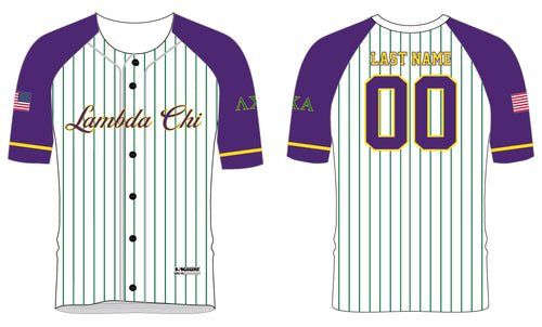 Lambda Chi Alpha Baseball Sublimated Full Button Jersey - 5KounT2018