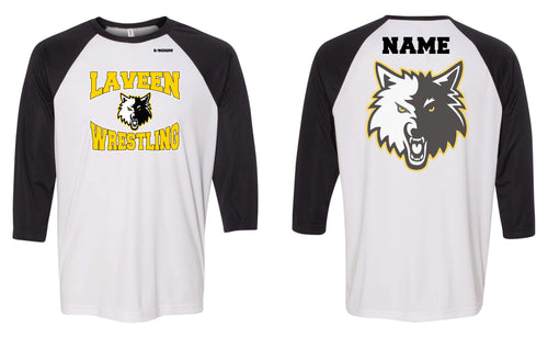 Laveen Wrestling Baseball Shirt - Black/White