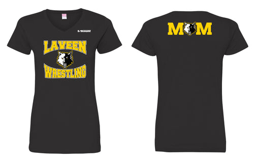 Laveen Wrestling Mom Cotton Women's V-Neck Tee - Black