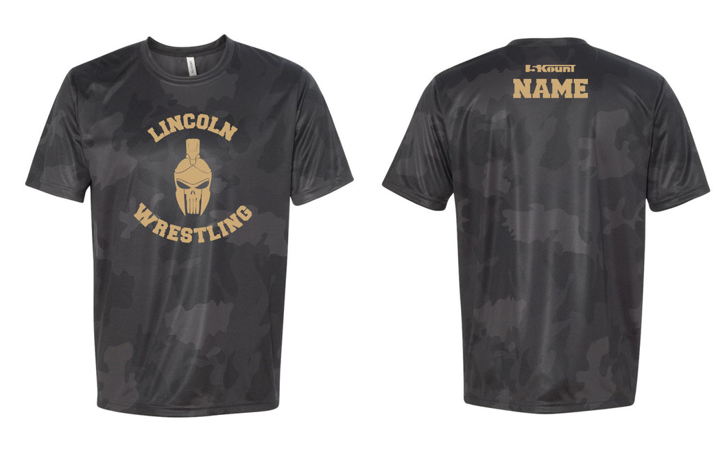 Lincoln HS Wrestling Laser Camo Tech Tee