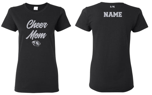 Linden Cheer MOM Glitter Cotton Crew Tee - Black - 5KounT2018
