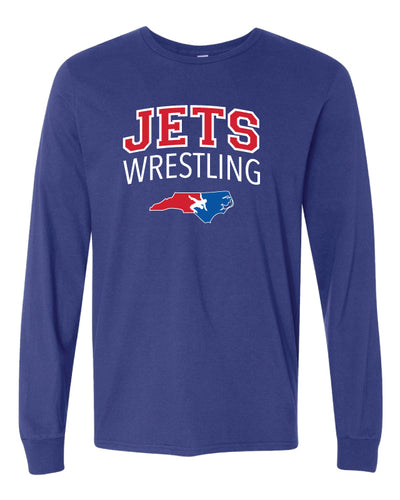 NC Jets Wrestling Long Sleeve Cotton Tee - Royal - 5KounT2018