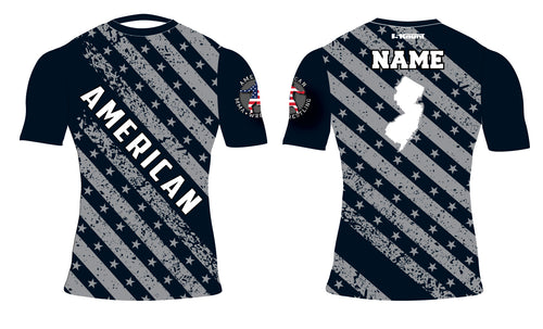 American MMA Wrestling Sublimated Compression Shirt Flag Desgin/Plain Black