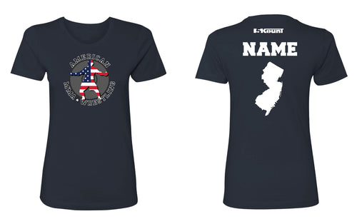 American MMA Wretling Cotton Women's Crew Tee - Navy