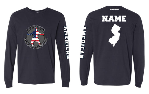 American MMA Wrestling Cotton Long Sleeve Navy/Gray