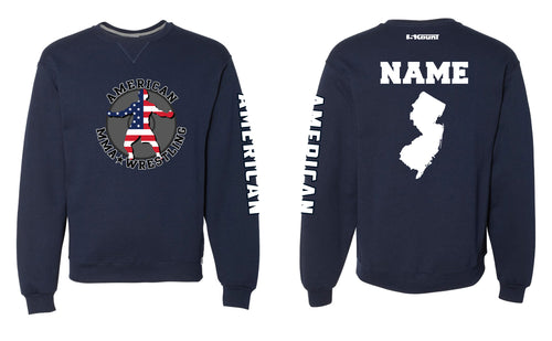 American MMA Wrestling Russell Athletic Cotton Crewneck Navy/Gray