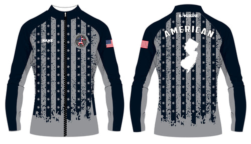 American MMA Wrestling Sublimated WarmUp Full Zip Jacket Flag Design/Plain Black