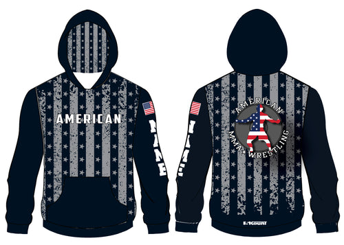 American MMA Wrestling Sublimated Hoodie Flag Design/Plain Black