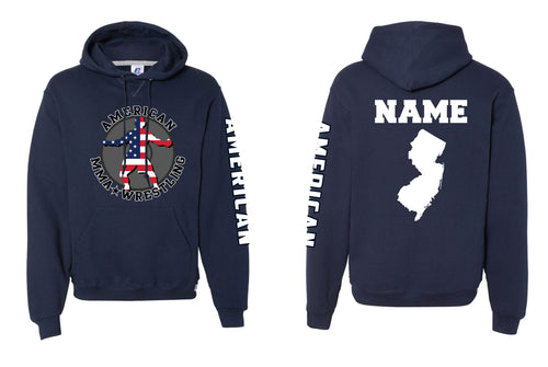American MMA Wrestling Russell Athletic Cotton Hoodie Navy/Gray