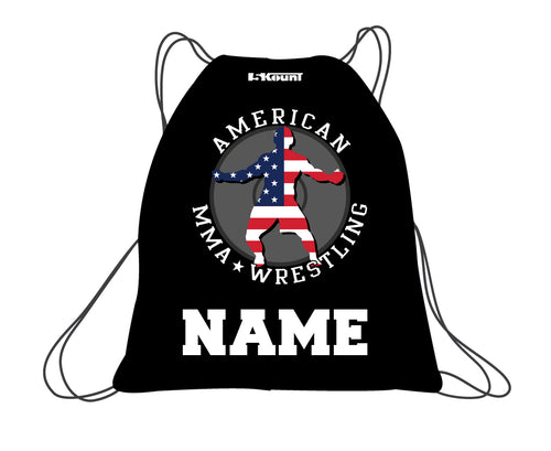 American MMA Wrestling Sublimated Drawstring Bag - Black