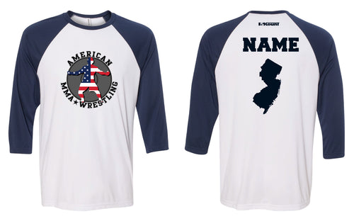 American MMA Wrestling Baseball Shirt White & Navy