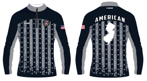 American MMA Wrestling Sublimated Quarter Zip Flag Design/Plain Black