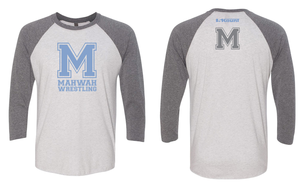 Mahwah Wrestling Baseball Shirt - Heather/White