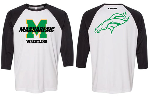Massabesic Youth Wrestling Baseball Shirt - Black / White - 5KounT2018