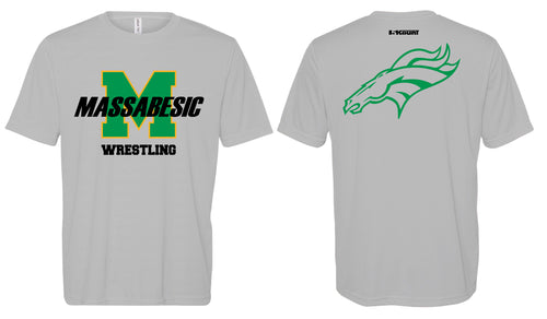Massabesic Youth Wrestling DryFit Performance Tee - Gray / Green - 5KounT2018