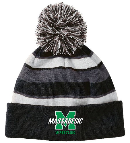 Massabesic Youth Wrestling Pom Beanie - Black - 5KounT2018