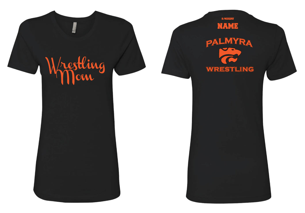 Palmyra Wrestling Cotton Crew Mom Tee- Black