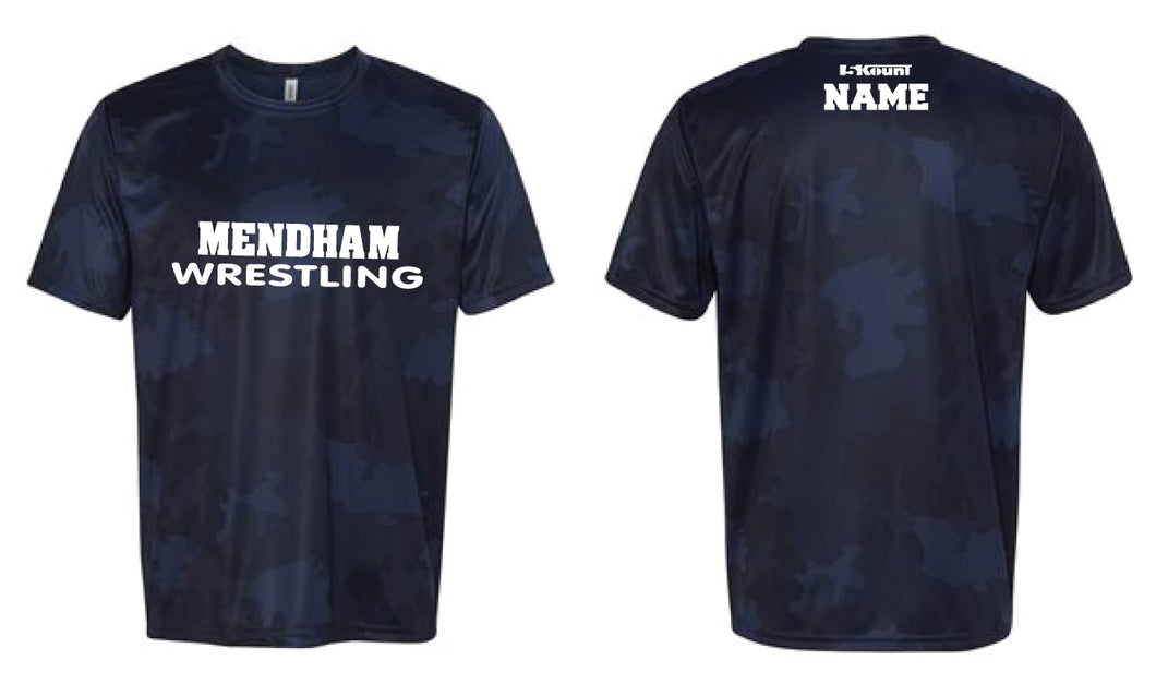 Mendham Laser Camo Tech Tee - Navy / Red