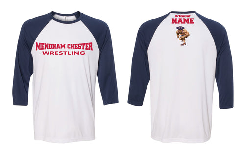 Mendham Chester Wrestling Baseball Shirt - Navy / White