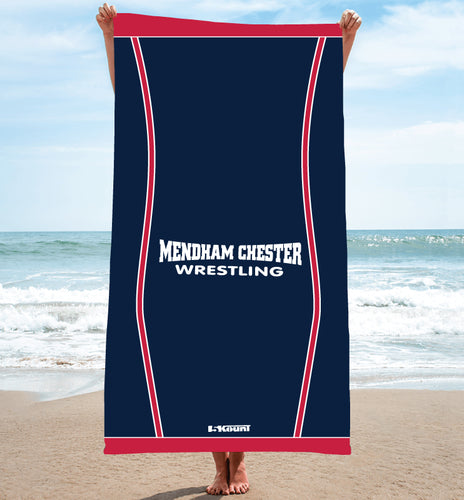 Mendham Chester Wrestling Sublimated Beach Towel