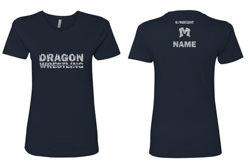 Middletown Dragons Ladies Glitter Cotton Crew Tee