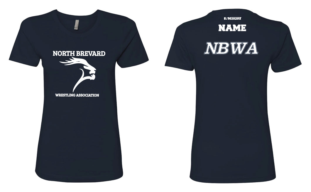 North Brevard Wrestling Association Ladies' Cotton Crew Tee - Navy - 5KounT