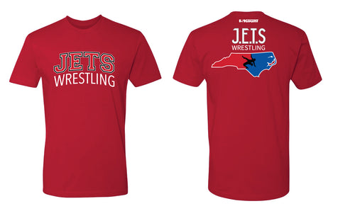 NC Jets Wrestling Cotton Crew Tee - Red - 5KounT2018