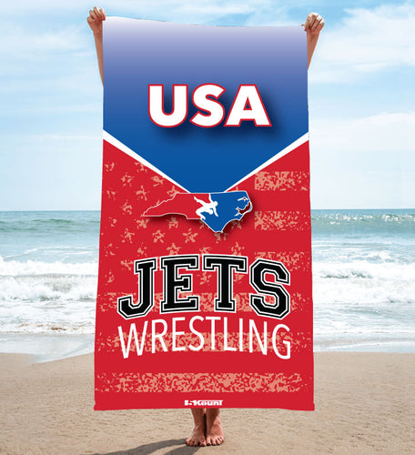 NC Jets Wrestling Sublimated Beach Towel - 5KounT2018