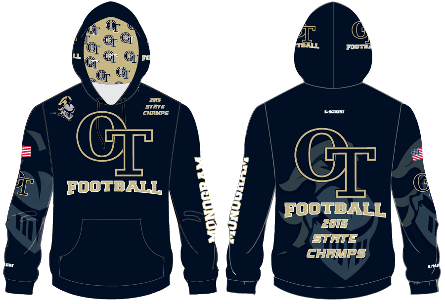 NVOT Football Subliamted Hoodie- 2015 STATE CHAMPS