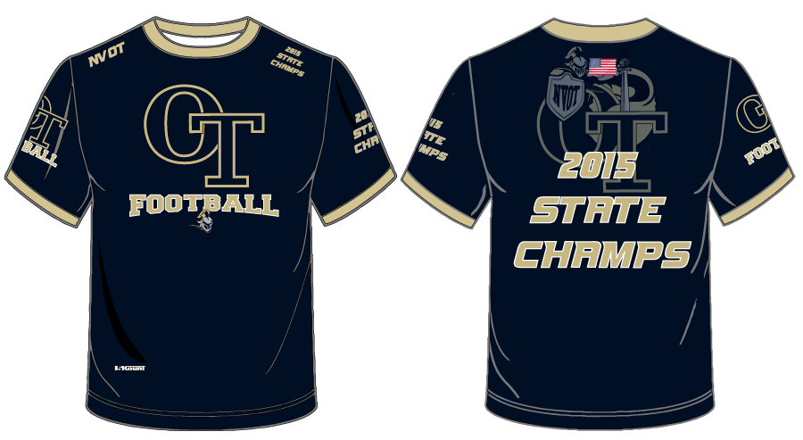 NVOT Football Sublimated SS Tee - 2015 CHAMPS