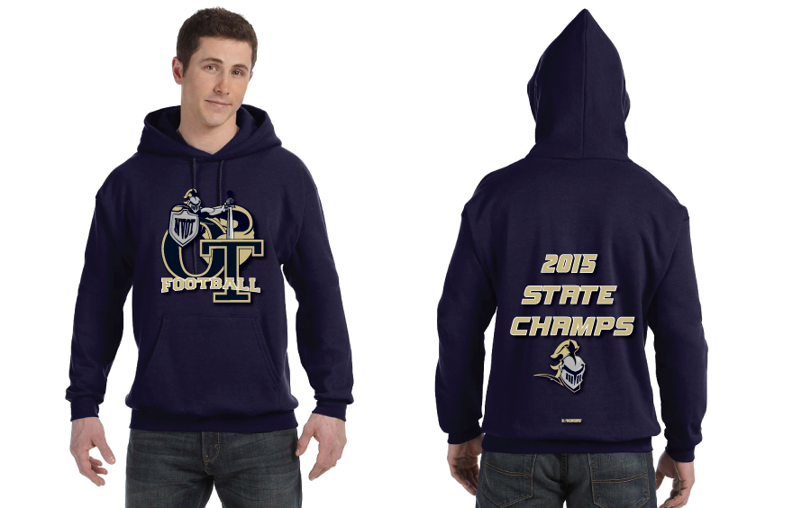 NVOT Football Cotton Hoodie- 2015 CHAMPS