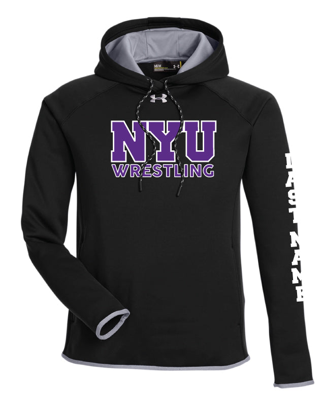 NYU Wrestling Under Armour Ladies' Double Threat Armour Fleece® Hoodie - Black - 5KounT2018
