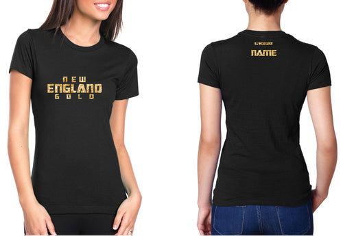 New England Gold Wrestling Glitter Cotton Crew Tee - 5KounT2018