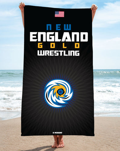 New England Gold Wrestling Sublimated Beach Towel - 5KounT2018