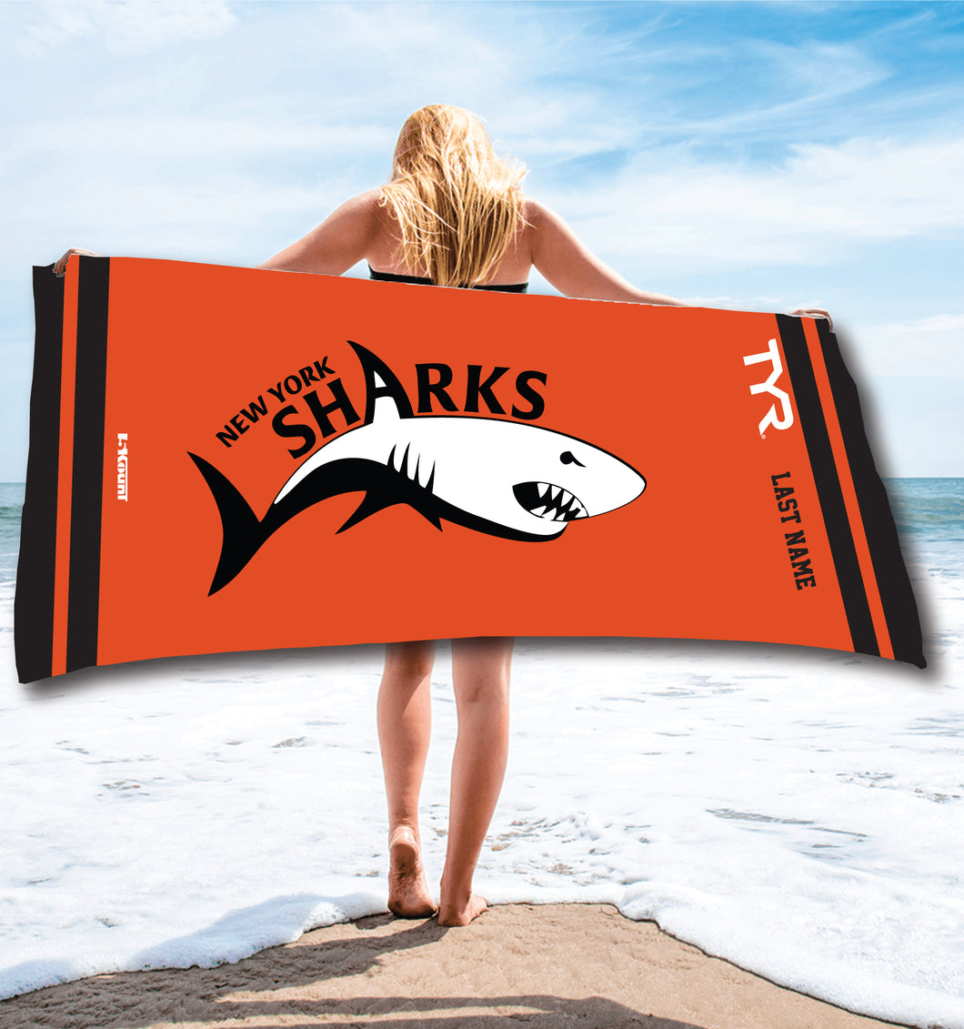 New York Sharks Sublimated Beach Towel - 5KounT2018